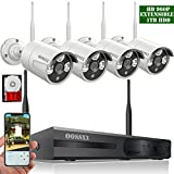 OOSSXX 【2018 update】 HD 1080P 8-Channel Wireless System/IP Security Camera System 4Pcs 960P(1.3 Megapixel) Wireless Indoor/Outdoor IR Bullet IP Cameras,P2P,App, HDMI Cord & 1TB HDD Pre-install