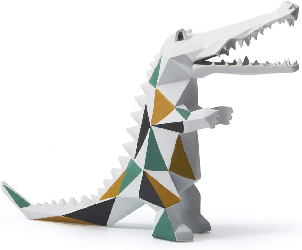 SEINHIJO Statue Sculpture Crocodile Figurine Geometric Animal Decor for Home Gifts Souvenirs Giftbox Polyresin 27cmH