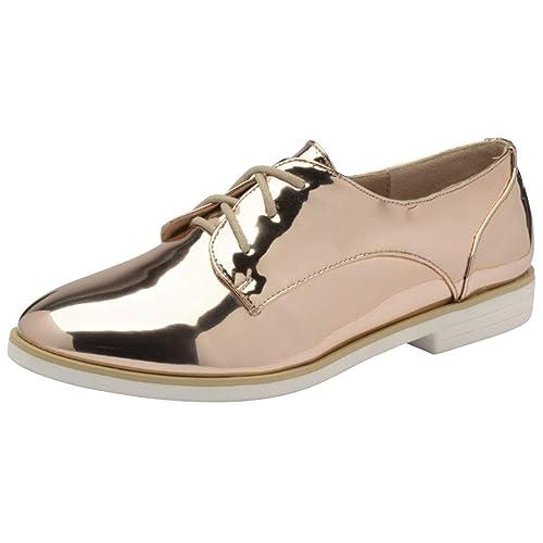 Dolcis Mujer KIA Oro Rosa Plano con Cordones Metálico Zapato Oxford Zapatillas Mocasines Tallas 3-8 - Oro Color De Rosa, 38 EU: Amazon.es: Zapatos y ...