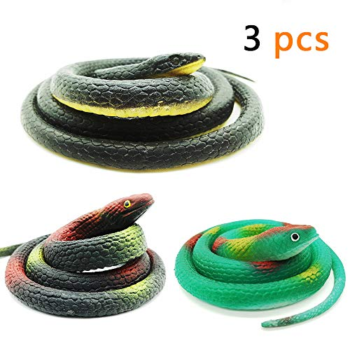 Lechay 3 Pieces Realistic Rubber Snakes in 2 Sizes 52 Inches and 29 Inches, Fake Snake Black Mamba Snake Toys for Garden Props to Scare Birds, Pranks, Halloween Decoration (3 Pieces, 52 Inch, 29 Inch)]()