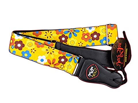New Guitar Strap Acoustic Electric Yellow Flower Solid Leather Ends USA Seller (Hippie Acoustic Guitar)
