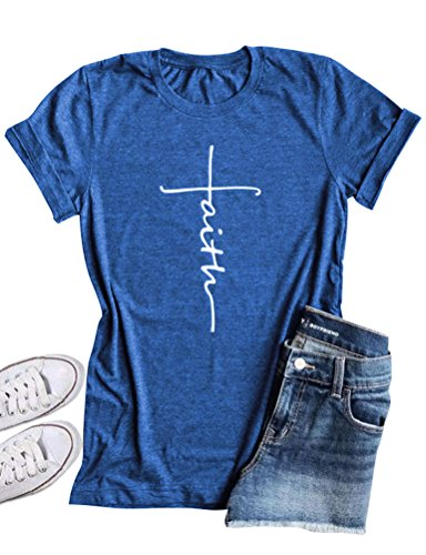 Printed Cross (SCX Women Cross Faith Printed Tees Letter Print T-Shirt Summer Grey Tees (S, Blue))