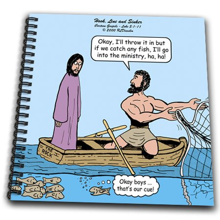 db_44476_1 Rich Diesslins Funny Cartoon Gospel Cartoons - Luke 5-1-11 - Hook, Line and Sinker with Jesus and Peter - Drawing Book - Drawing Book 8 x 8 inch
