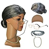 qnprt-Old-LadyMrs-Santa-Wig-Madea-Granny-Glasses-Eyeglass-Chains-Holder-and-Cords-StrapFauxPearl-Beads-Choker-