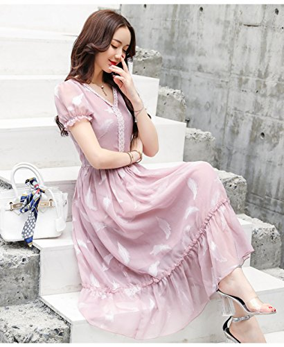 Waist High Dresses Short Sexy Sleeve Neck s V Pink cotyledon Women ZAW7II