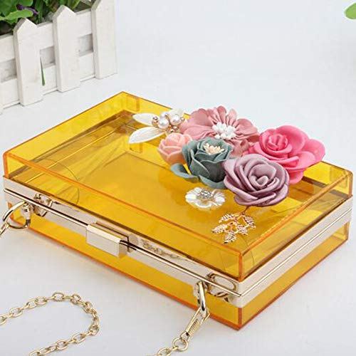 Transparent For Wedding Beaded Women Clutch Handbag Prom Flowers Bride Party Bags Yellow EPLAZA Purse Evening Acrylic wpxSHxARq