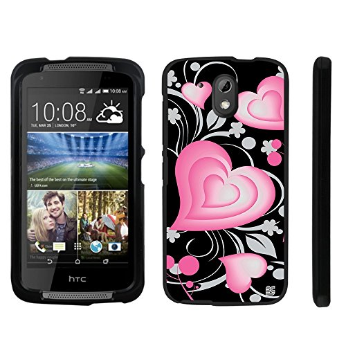 Beyond Cell®HTC Desire 526 Cases Premium Protection Slim Light Weight 2 piece Snap On Non-Slip Matte Hard Rubberized Phone Cover- 3D Hearts Design - Hearts Design Phone Cover