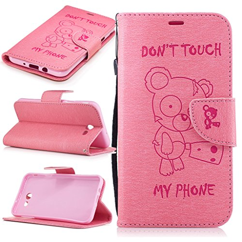 (Wallet Case for Galaxy J7 V,J7 Perx,J7 Sky Pro with [Tempered Glass Screen Protector], Pressed Leather with Kickstand Card Holder Detachable Cover Flip Case for J7 2017(Don't touch my Phone)