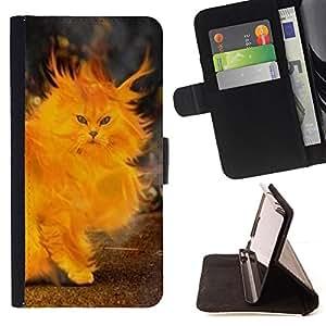 BullDog Case - FOR/Samsung Galaxy S5 V SM-G900 / - / fire cat painting heart yellow flames /- Monedero de cuero de la PU Llevar cubierta de la caja con el ID Credit Card Slots Flip funda de cuer