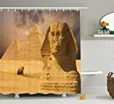 Ambesonne Egyptian Decor Shower Curtain Set, The Great Sphinx Face with Other Pyramids in Egypt Old Historical Monument, Bathroom Accessories, 69W X 70L Inches, Amber Sand Brown