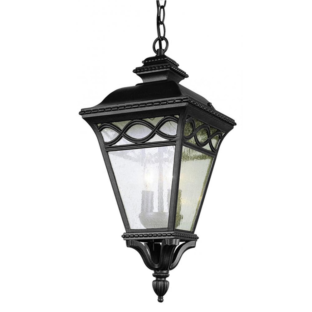 Transglobe Lighting 50516 BK Outdoor Hanging Pendant with Seeded Glass Shades, Black Finished