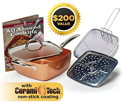 5 Piece Copper Chef nonstick Square Induction Pan with Glass Lid together with Fry Basket, and Steam Rack