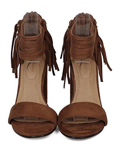 Alrisco Kvinnor Fringe Blockera Häl Sandal - Strappy Fotled Manschett Chunky Häl - Dressat Sommar Mångsidig Trendiga Kedjad Häl - Hb41 Av Elegant Samling Kamel Faux Mocka