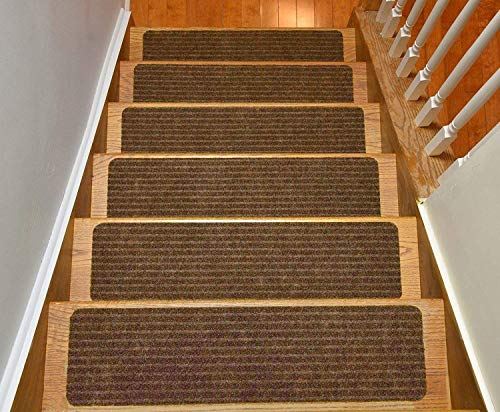 (Stair Treads Collection Set of 13 Indoor Skid Slip Resistant Brown Carpet Stair Tread Treads (8 inch x 30 inch) (Brown, Set of 13))
