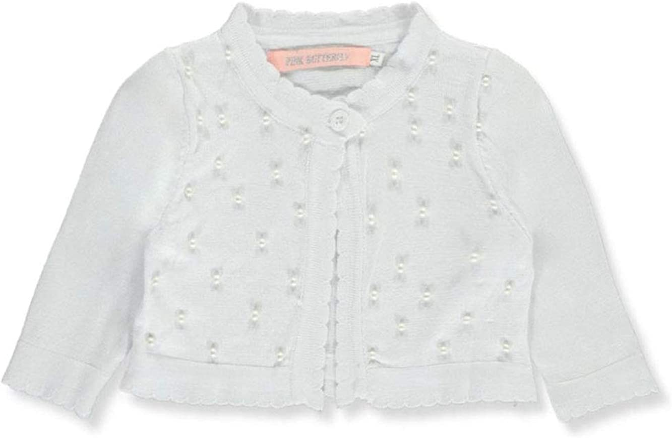 Pink Butterfly Baby Girls Pearly Scalloped-Trimmed Knit Shrug