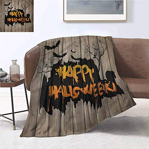 DILITECK Hypoallergenic Blanket Halloween Quote Bats Art All Season for Couch or Bed W70 xL93 Traveling,Hiking,Camping,Full Queen,TV,Cabin -