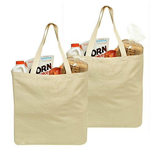 Reusable Grocery Canvas Bag, 2 PACK, 19