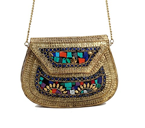 Alvi Qmar Christmas Special Handmade Antique Metal Clutch Purse Wallet Hard Handbag Elipse Shape for Women Golden Multi 18X13 cm