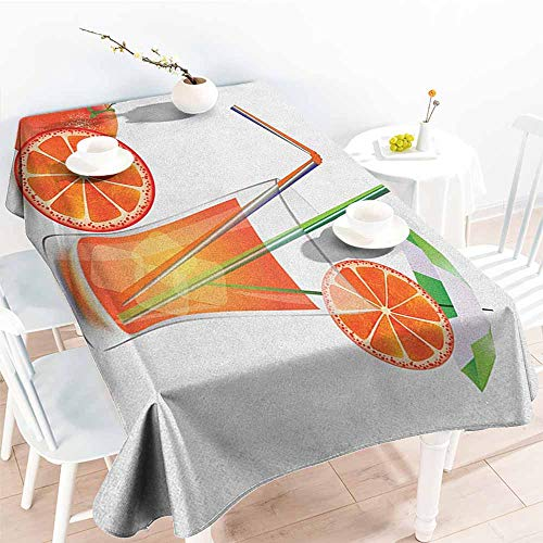 Willsd Anti-Fading Tablecloths,Green and Orange Glass of Orange Juice with Fruits with Colorful Straws Summertime Theme,Dinner Picnic Table Cloth Home Decoration,W60X102L Multicolor
