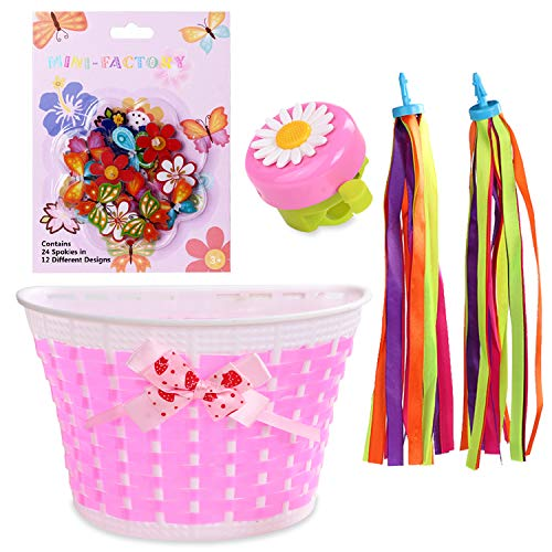 MINI-FACTORY Kids Bike Accessories 4Pcs/Set Bicycle Basket Bell Decoration Play Gift Set for Small Kid Girls (Basket + Bell + Streamer + Wheel Spoke)