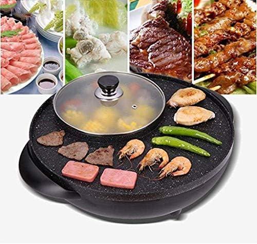 BBQ Grill et Hot Pot, multi-fonction Barbecue Hot Pot Double Pot électrique Grill électrique Accueil Plateau de cuisson style double contrôle coréen [Classe énergétique A]