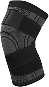 3D Pressurized Fitness Bandage Knee Support Brace Elastic Nylon Sports Compression Pad Sleeve for Running Cycling-Black L