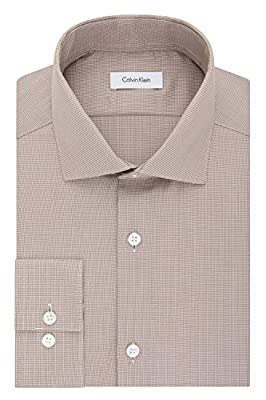 Calvin Klein Men's Non Iron Slim Fit Houndstooth Spread Collar Dress Shirt