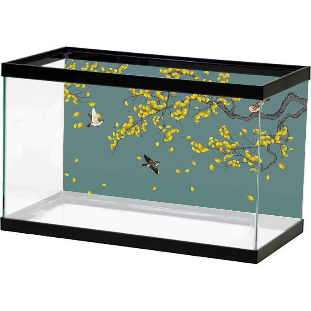 bybyhome Aquarium Scenery Background Yellow Leaves with Bird on a Green Background. Decoration Paper by bybyhome