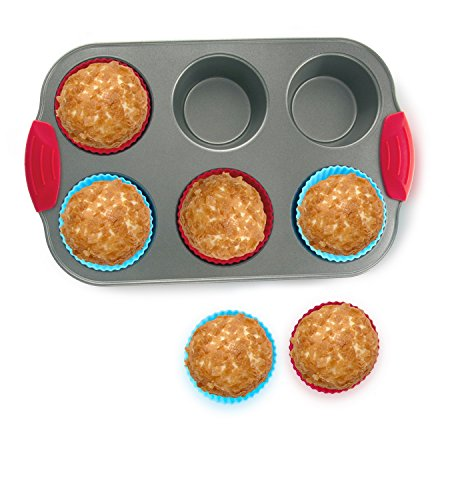 Nonstick Bakeware 6-Cup Muffin Pan with Silicone Cupcake Liners (Set of 6) by Boxiki Kitchen | Premium Nonstick Baking Muffin Tin and Muffin Cups by Boxiki Kitchen (Image #3)
