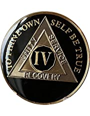Ranger Industries 4 Year AA Medallion Glossy Classic Black Sobriety Chip IV