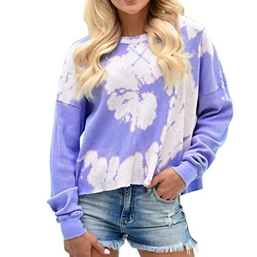 Xinantime Womens Floral Print Sweatshirt O-Neck Long Sleeves Printing Blouse Tops Sweatshirt ()