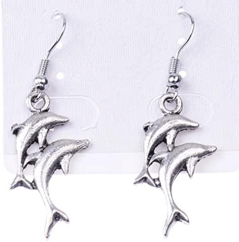 Glucky : Dolphin Lovers Silver Statement Dangle Earrings Gift For Her Vintage Earrings