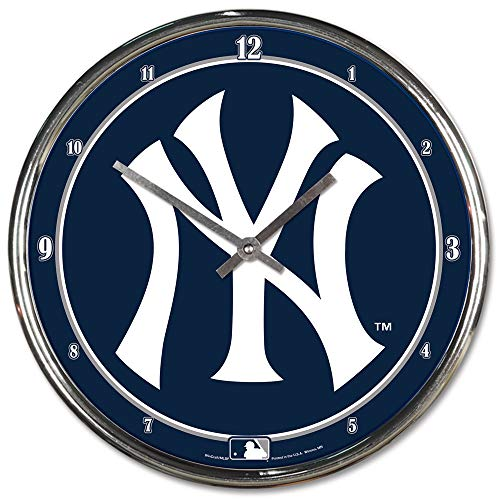 MLB New York Yankees Chrome Clock, 12