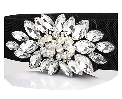 Women's Stretch Belts Floral Beaded Crystal Amiveil Wide Stone Elastic Waistband ()