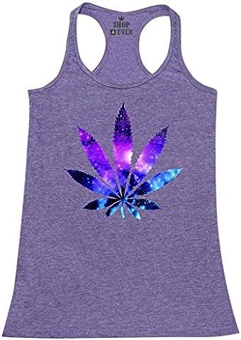 Shop4Ever® Marijuana Leaf Galaxy Women's Racerback Tank Top Weed Stoner Tank Tops Medium Purple (Hippie Acc)