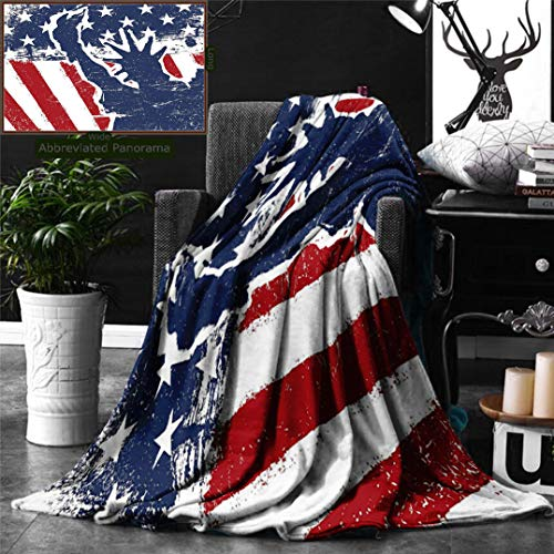 Ralahome Unique Custom Digital Print Flannel Blankets American Flag Decor Statue Liberty Silhouette On Flag Display Independence Mart Super Soft Blanketry Bed Couch, Throw Blanket 70 x 50 Inches