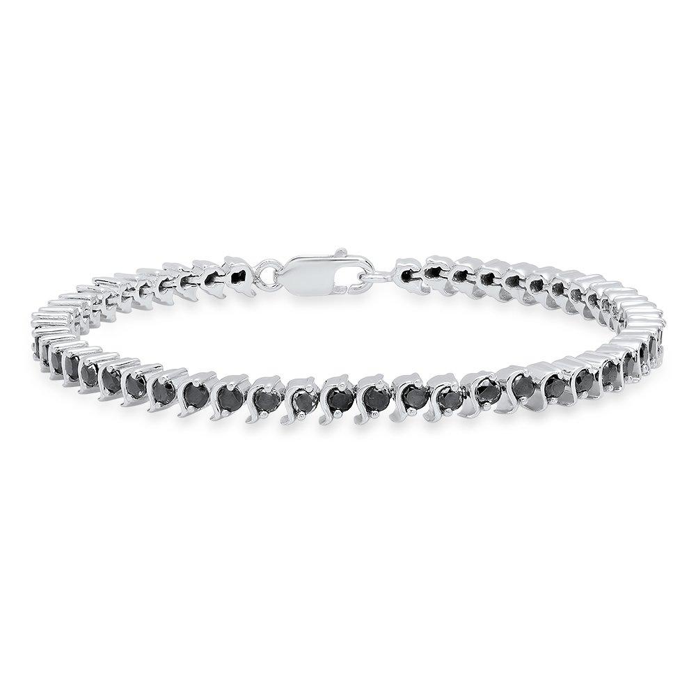 3.65 Carat (ctw) Sterling Silver Round Cut Black Diamond Ladies Tennis Bracelet