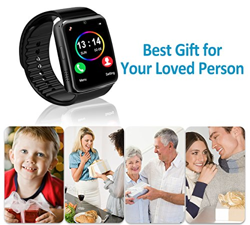 Smart Watch for Android Phones 2018 Bluetooth Smartwatch Android Phone Watch Waterproof Smart Watches Touchscreen with Camera Compatible IOS iphone X 8 7 6 6S plus Android Samsung for Women Man Black by Luckymore (Image #1)