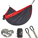 pys Double Camping Hammock for Backpacking,Two Person Size Parachute Suspension Hammock with Multi Colors Available, Lightweight and Compact,Portable Ideal for Outdoor Hiking (Dark Gray+Red)
