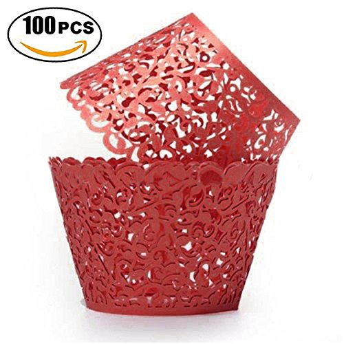 Red Filigree Favor Boxes - 100pcs Party Cupcake Wrappers,Vine Lace Laser Cut Baking Cup Cake Liner Wrap Baby Shower Decorations Wedding Birthday Supplies