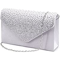 Jubileens Ladies Large Evening Satin Bridal Diamante Ladies Clutch Bag Party Prom Envelope