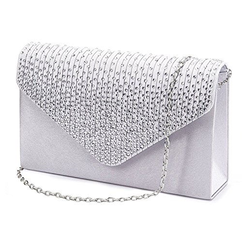Jubileens Ladies Large Evening Satin Bridal Diamante Ladies Clutch Bag Party Prom Envelope (Silver) Small