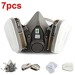 RONGT Safety Mask 3M 7502 / 6200 Respirator Half Face Gas Mask Painted Activated Carbon Mask Against Organic Vapors Gas Cartridges 7 Items for 1 Set (6200)