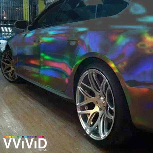 VViViD Black Holographic Chrome Vinyl Wrap Rainbow Finish Roll 1ft x 5ft DIY Air-Release Adhesive Film