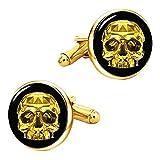 Kooer Vintage Gold Skull Cufflinks Handmade Custom Personalized Skull Cuff Links Wedding Jewelry Gift (Gold Plated)