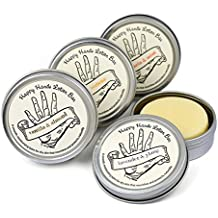 Happy Hands Natural Beeswax & Shea Butter Solid Lotion Bar Set. Keeps Skin Moisturized & Protected. Great Gift for Women & Men. Compact, Concentrated for Travel, Work & Home.