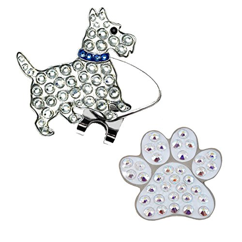 - Navika Scottie Dog (with Blue Collar) and White Paw Crystal Golf Ballmarkers & ONE Magnetic Clip Set Made with Swarovski Crystal Elements