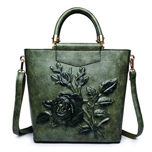 Leather Embossing Printing Tote Floral Large Retro Handbag Green Embroidery Bags Hobo Women Designer Bucket Bag x408qwn5R