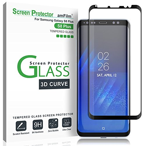 amFilm Glass Screen Protector for Samsung Galaxy S8 Plus, 3D Curved Tempered Glass, Dot Matrix with Easy Installation Tray, Case Friendly (Black)
