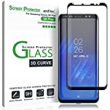 amFilm Galaxy S8 Plus Glass Screen Protector, Full Screen [Case Friendly][Easy Installation Tray] Dot Matrix 3D Curved Tempered Glass Screen Protector for Samsung Galaxy S8 Plus (Black)